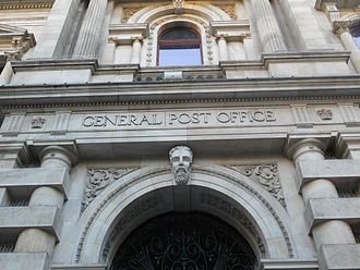 Adelaide city centre - Architectural detail of the Adelaide General Post Office on King William Street