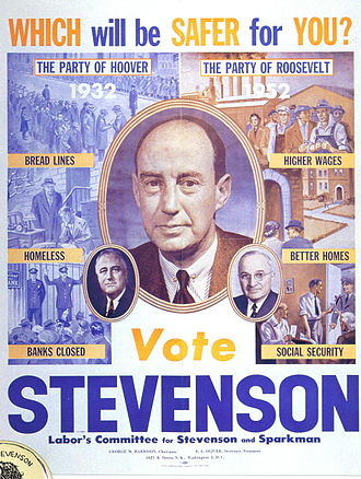 United States presidential election, 1952 - Adlai Stevenson warns against a return of the Republican policies of Herbert Hoover