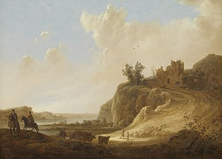 Mountainous landscape with the ruins of a castle
