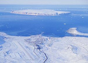 Thule Air Base - Aerial view of Thule Air Base with Saunders Island in the background and the tombolo on the right