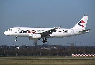 Aero Lloyd - An Aero Lloyd Airbus A320 landing at Düsseldorf, Germany. (2002)