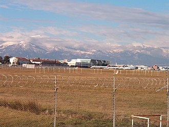 Turin Airport - Apron view with the Italian Alps visible in the background