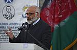 Afghan Defense Minister Masoom Stanekzai speaks during a news conference on Forward Operating Base Fenty in Jalalabad, Afghanistan, Dec. 18, 2015.JPG