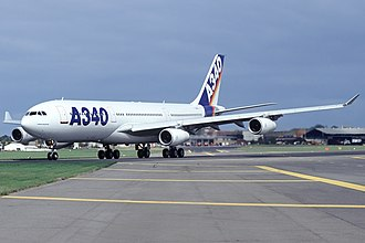 Airbus A340 - An A340-200 demonstrator at the 1992 Farnborough Air Show