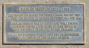 Charles Méryon - Plaque in Akaroa, New Zealand, where Méryon spent three years