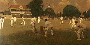 Colin Blythe - Kent vs Lancashire at Canterbury by Albert Chevallier Tayler. The painting was commissioned by Kent to celebrate their 1906 County Championship victory and features Blythe bowling to Johnny Tyldesley at the St Lawrence Ground in Canterbury.