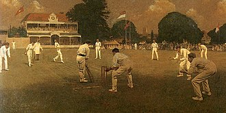 Kent County Cricket Club - Kent vs Lancashire at Canterbury by Albert Chevallier Tayler, which was commissioned by Kent to celebrate their 1906 County Championship victory.