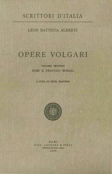 File:Alberti, Leon Battista – Opere volgari, Vol. II, 1966 – BEIC 9707880.djvu