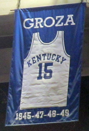 Alex Groza - A jersey honoring Groza hangs in Rupp Arena.