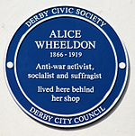Blue Plaque on the building where Alice Wheeldon lived
