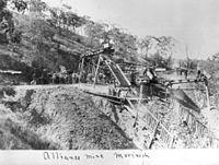 Alliance Mine in operation at Morinish, Queensland, circa 1890.JPG