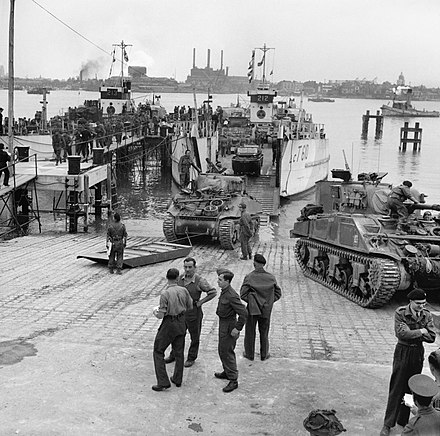 Sherman tanks of the 13th/18th Hussars, embarking onto LCT-610, 3 June 1944 Allied Preparations For D-day H39000.jpg