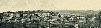 Amarante, Portugal - A view of the landscape of the town of Amarante in 1900