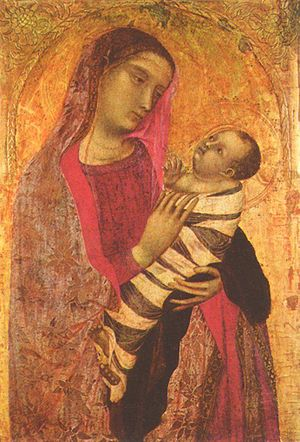 Swaddling - Ambrogio Lorenzetti's Madonna and Child (1319) depicts swaddling bands