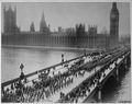 American troops on way to the front march thru London amid the plaudits of the multitudes, crossing Westminster... - NARA - 530734.tif