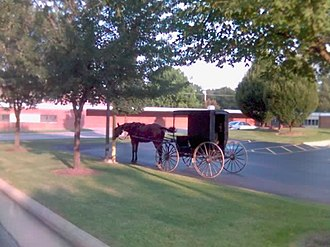 Dalton, Ohio - Amish buggy in the library parking lot