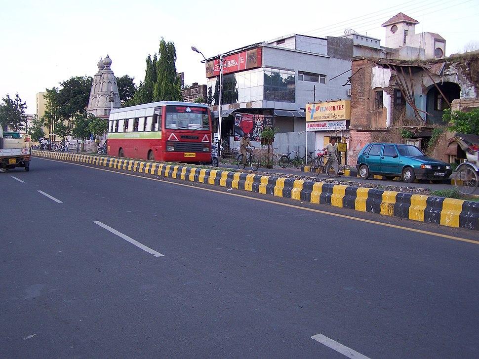 A road in the Amravati district headquarters