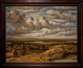 Amsterdam - Rijksmuseum 1885 - The Gallery of Honour (1st Floor) - Panorama with Farmhouses along a Road 1655 by Philips Koninck.png