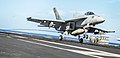 An F A-18E Super Hornet makes an arrested landing on the flight deck. (27379683008).jpg