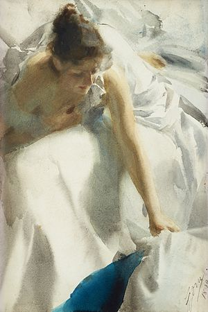 Anders Zorn - Reveil (Awakening), the artist's wife