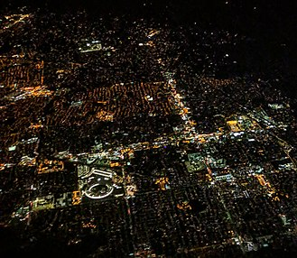 Apple Park - Night aerial view of the newly opened Apple Park and Cupertino in December 2017