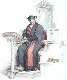 Aquatint of a Doctor in divinity at the University of Oxford, shown wearing convocation dress.jpg