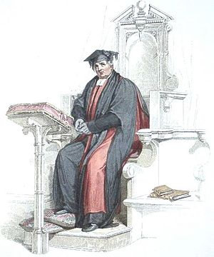 Doctor of Divinity - Aquatint of a Doctor of Divinity at the University of Oxford, in the scarlet and black academic robes corresponding to his position.  (The Doctor appears here in his Convocation habit, rather than his full ceremonial dress.) From Rudolph Ackermann's History of Oxford, 1814.