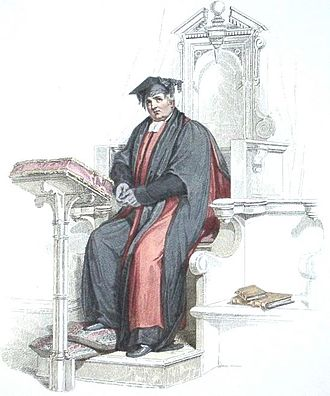 Doctor of Divinity - Aquatint of a Doctor of Divinity at the University of Oxford, in the scarlet and black academic robes corresponding to his position.  (The doctor appears here in his convocation habit, rather than his full ceremonial dress.)