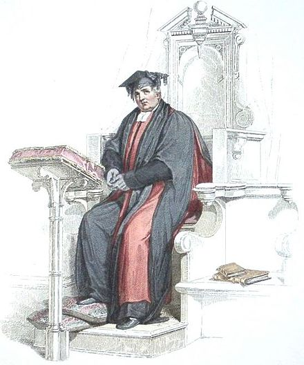 Aquatint of a Doctor of Divinity at the University of Oxford, in the scarlet and black academic robes corresponding to his position. (The doctor appears here in his convocation habit, rather than his full ceremonial dress.) Aquatint of a Doctor in divinity at the University of Oxford, shown wearing convocation dress.jpg
