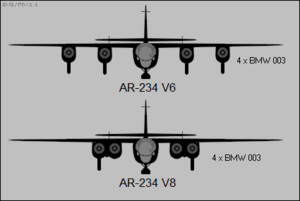 Arado Ar 234 - Differences between the pair of four-engined Ar 234 prototype aircraft