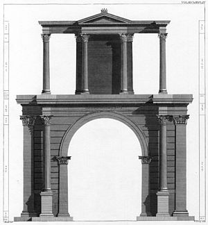 Arch of Hadrian (Athens) - Restoration drawing of the SE side of the Arch (Stuart and Revett).