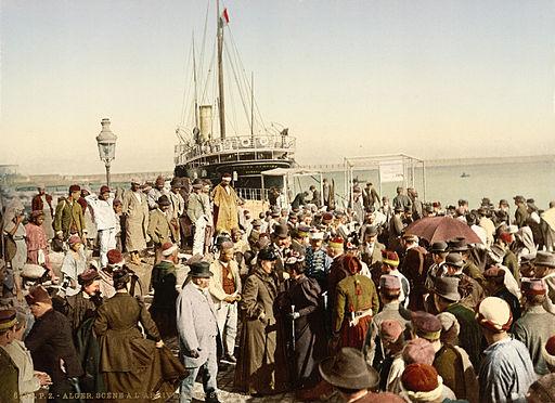 Arrival of a steamer, Algiers, Algeria, ca. 1899