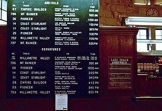 Pioneer (train) - The arrivals and departures board inside Portland Union Station in 1981, listing the Pioneer, among other trains