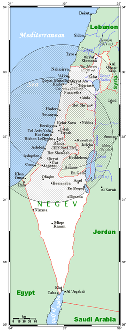 Coverage of Israel provided by two Arrow 2 batteries, derived from their published locations (Palmachim, Ein Shemer) and range (90–100 km).