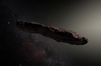 Interstellar object - Artist's impression of ʻOumuamua, the first confirmed interstellar asteroid