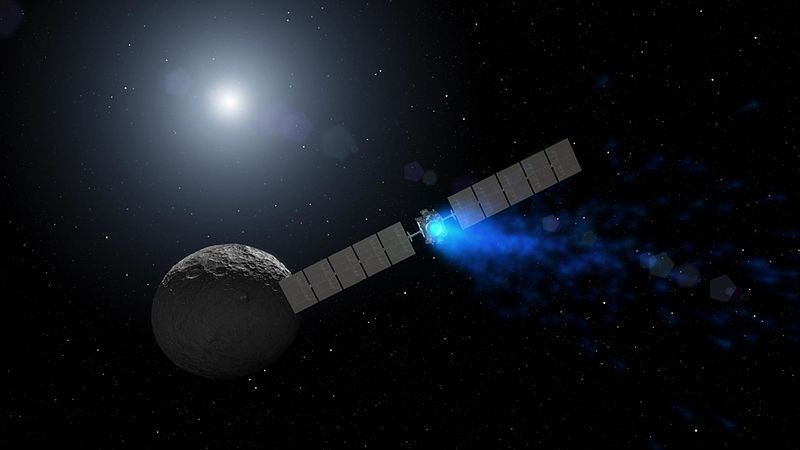File:Artist concept of Dawn arriving at Ceres (PIA20919).jpg