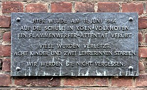Cologne school massacre - Commemorative plaque