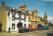 Auchterarder High Street in the sunshine: Star Hotel, Post Office and Town Hall.