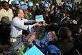 Aveba, district de l'Ituri, RD Congo - le Représentant spécial du Secrétaire général des Nations Unies en RDC, Martin Kobler, distribue du matériel scolaire aux élèves d'Aveba et ses environs (20374949501).jpg
