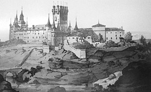 José María Avrial - Engraving of the Alcázar de Segovia