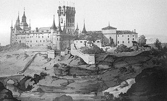 José María Avrial - Engraving of the Alcázar de Segovia