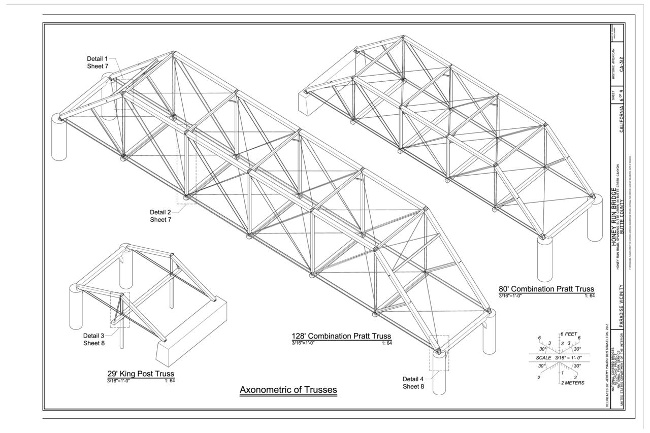 File Axonometric Of Trusses Honey Run Bridge Spanning