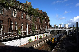 Ayr railway station - Station Hotel Sept 2017 - Showing buddleja growth