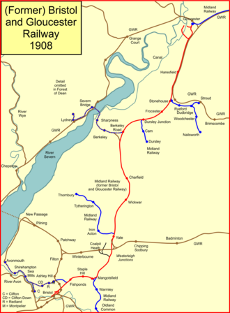 Bristol and Gloucester Railway - The former Bristol and Gloucester Railway lines in 1903