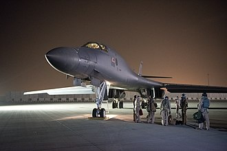 2018 missile strikes against Syria - A B-1B of 28th Bomb Wing preparing to launch a strike mission from Al Udeid Air Base
