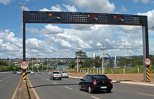 "Traffic enforcement camera - Automatic speed enforcement gantry or ""Lombada Eletrônica"" with ground sensors in Brasília, D.F."