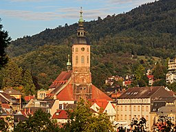 View from the Kurpark in Baden-Baden (BW, Germany). The photo shows the Stiftskirche Baden-Baden.