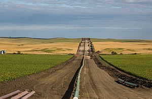 Environmental policy of the Donald Trump administration - Construction of the Dakota Access Pipeline (shown above) has resumed under the Trump Administration.