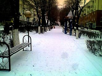 Balkhash (city) - Winter in Balkhash. One of the central streets.