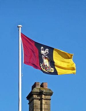 2013 Football League Cup Final - The 'Bantams' flag flying atop Bradford City Hall, marking the significance of the final for the club and city.
